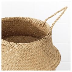 IKEA - FLÅDIS, Basket, seagrass, This braided basket has a unique look since each basket is handmade. You can choose how you want to use this basket – turned up with handles or turned down to display the contents. Seagrass Storage Baskets, Wicker Baskets, Small Storage, Storage Boxes, Nature Living, Ikea Basket, Belly Basket, Ikea Living Room, Ikea Family