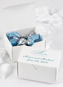 "Create personal wedding favors with classic style by packaging treats in these favor boxes. Personalize with a single script initial and two lines of personalization in your choice of foil color. For example, bride and groom's names on one line and wedding date on second line. Personalization will allow for up to 25 characters per line including spaces. Enter your event date in the following format - date spelled out (month, day, year).Dimensions: 3"" x 2 1/4"" x 1 3/4"".    ..."