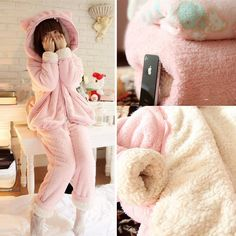 Pink Bunny Ear Fleece Home Wear Pajamas Set SP164925