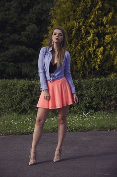 Get this look: http://lb.nu/look/8752843  More looks by Madame Marcelline: http://lb.nu/madame_marcelline  Items in this look:  H&M Skirt, Bershka Shirt, Shoes   #chic #elegant #romantic #summer #summervibes #short #orange #skirt #outfit