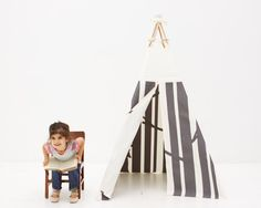 Play Teepee Tent - Secret Woodland in Graphite As Seen on Etsy Front Page