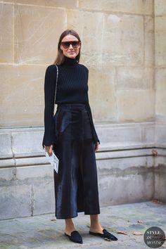 black turtleneck, slip on mules, cropped wide leg pants. love this