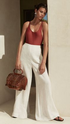 Summer outfit, wide leg pants, effortless style, fashion
