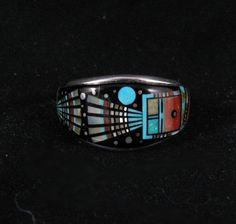 Navajo Ervin Tsosie Night Ceremony Inlay Silver Ring sz13