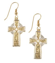 Celtic Cross Earrings, Hand Cut Celtic Cross Medallion. These Celtic Cross Earrings started as a Medal that I hand Cut. This is a very traditional style Celtic Cross and they look great being worn. The Earrings a very light and due to not having an outer rim the Crosses really stand out. After cutting they are plated in 14 Karat Gold & Rhodium. The wires we use that go through the ears are 14 Karat Gold Filled not plated. All our work is guaranteed for life.