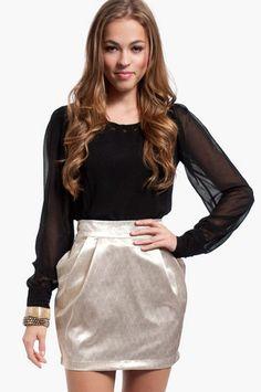 Gold Rush Skirt $37 at www.tobi.com