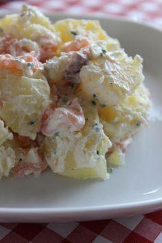 Salade tiède pommes de terre saumon fumé