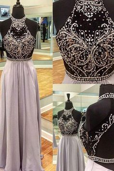 Luxury chiffon sequins beading halter backless full-length casual dress, formal dresses