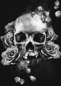 Roses & Skulls Black Style