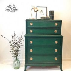 SOLD- Antique dresser chest of drawers - shabby chic old world aged patina. Green Painted Furniture, Dark Furniture, Repurposed Furniture, Antique Furniture, Rustic Furniture, Luxury Furniture, Furniture Design, Gothic Furniture, Antique Chairs