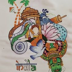 Poster Drawing, India Art, Drawing Competition, Doodle Art Drawing, Oil Pastel Paintings, Hello Kitty Drawing, Incredible India Posters, Patriotism Art, Earth Drawings