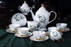 White Tea Flower Coffee/Tea Set (15 Pcs)