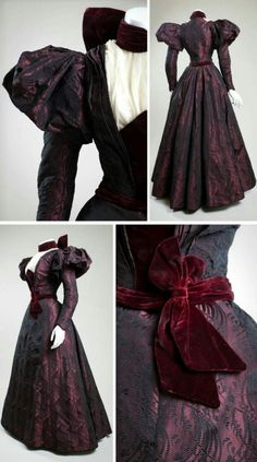 Silk brocade and velvet afternoon dress, ca. 1897.