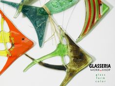 Window Decorations – Fishes - 7 pcs. - Glass decoration - mix – a unique product by Glasseria on DaWanda