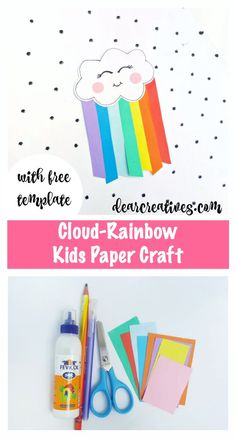 Cloud Rainbow Kids P Cloud Rainbow Kids Paper Craft Fun Learning Activity Easy Fall Crafts, Spring Crafts For Kids, Paper Crafts For Kids, Crafts For Kids To Make, Art For Kids, Kids Fun, Rainbow Activities, Craft Activities For Kids, Craft Ideas