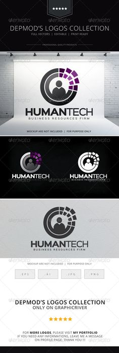 Human Tech Logo Logo of stylized human silhouette in digital shape. Full vectors, this logo can be easily resize and colors can be changed to fit your project. Flat versions for print also included. The font used is in a download file in the package.