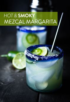 A super delicious Mezcal Margarita and refreshing recipe with jalapeños to give it a kick and the smokiness comes from the Mezcal.  via @spskillet