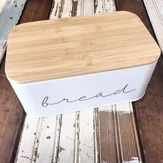 """Bread Box - Bamboo - 3205007 - 11-3/4""""L x 5-1/4""""W x 7""""H - Metal Bread Bin w/ Bamboo Lid, Grey"""
