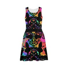 multi colored sillhouette of a fairytale Sundress.Alice in Wonderland inspired