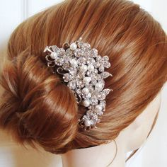 Vintage Style Wedding Hair Comb Pearl & Crystal by luxedeluxe, $82.00