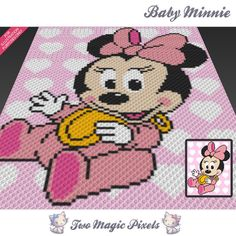 Baby Minnie crochet blanket pattern; knitting, cross stitch graph; pdf download; minny disney mouse; no written counts or row instructions by TwoMagicPixels, $2.84 USD