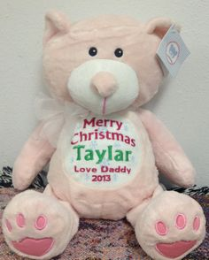 Personalized baby gift pink teddy bear birth announcement personalized baby gift pink teddy bear birth announcement personalized by world class embroidery personalised baby teddy bear and bears negle Images