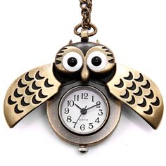 "JewelryWe Christmas Gift Vintage Retro Owl Bronze Steampunk Locket Pocket Watch Pendant Long Chain 31.5"" Sweater Necklace (with Gift Bag) - http://steampunkvapemod.com/jewelrywe-christmas-gift-vintage-retro-owl-bronze-steampunk-locket-pocket-watch-pendant-long-chain-31-5-sweater-necklace-with-gift-bag/"