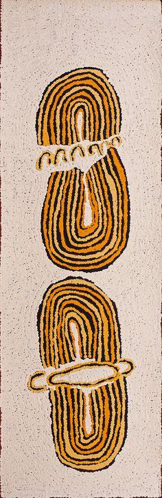 Yuyuya Nampitjinpa - Rockhole of Umari (water dreaming stories) - YN1707138 - 87 x 28 cm http://www.aboriginalsignature.com/art-aborigene-papunya-tula/yuyuya-nampitjinpa-rockhole-of-umari-water-dreaming-stories-yn1707138-87-x-28-cm