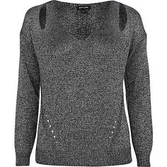 Grey cut out shoulder jumper - jumpers - knitwear - women