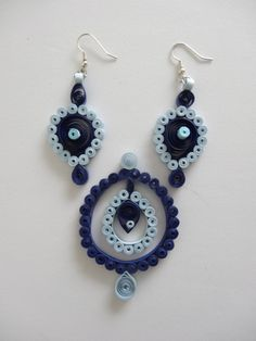 Blue Paper quilled earring, pendant set.