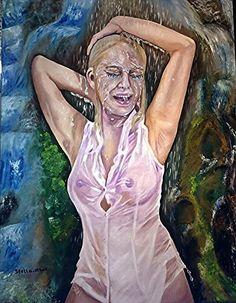 Stella Abek Oil Painting Waterfall סטלה אבק ציור שמן מפל
