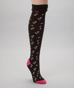 Betsey Johnson Black   Pink Rose Knee-High Socks 2e48c02c5