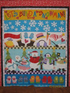 """""""Let's Build a Snowman"""" quilted by Louise H"""