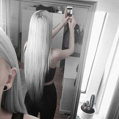 Long straight grey hairstyle