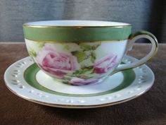 Porcelain Treasures Cup and Saucer Hand Decorated by Betty Platner with Roses  #PorcelainTreasures