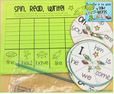 Spin, Read, Write! 40 Beginning Sight Words!! Super fun! Students can do this activity individually or with a partner! dreambigkinders.blogspot.com