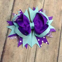 Aqua and purple hair bow - Hairbow , hair clip bow, girls hair bow - stacked…