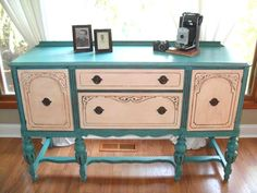 A Turquoise Buffet w/contrasting white doors. I could add nicer legs to the blue and yellow buffet Funky Furniture, Repurposed Furniture, Furniture Projects, Furniture Makeover, Painted Furniture, Furniture Design, Refurbished Furniture, Diy Projects, Painted Buffet