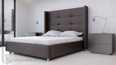 Victoria Bed Brown, designer bed in brown.  This is a great look for a even better price.   Built with solid wood and a steel support section.  This bed is built to last no matter what kind of use you put it to.