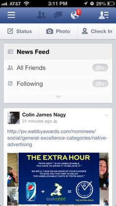 Facebook mobile navigation.