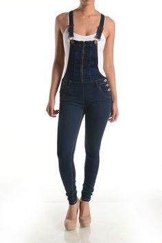 Womens Distressed Denim Blue Skinny Full Length Overalls