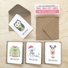 This Mini Gift Pack contains 4 Assorted Mini Christmas Gift Cards with MiniKraft Envelopes featuring an Ugly Christmas Sweater / Jumper, Koala with Xmas Lights, Owl with Christmas Lights and Reindeer. These are great to attach to presents for family, friends, neighbours etc.