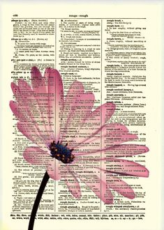 Pink Flower Dictionary Art Print Flower Art by reimaginationprints, $10.00