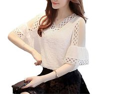 52e3ecd94f9 OUXIANGJU Women Fashion Summer Cold Shoulder Blouse Lace Hollow Out Tops  Flare Sleeve Pleated Shirt at Amazon Women s Clothing store