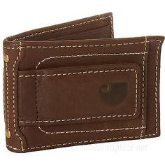 Carhartt Wallet Mens Magnetic Front Pocket Money Clip Wallet Leather Brown Black