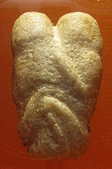 Ain Sakhri lovers. Sculpture from the Ain Sakhri caves around Bethlehem, circa 9000 BCE. Created by the Natufians and believed to be the first representation of two people having sex.