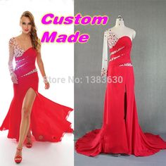 Find More Prom Dresses Information about 2015 Hot Sale Custom Sexy Prom Dresses Vestido de Festa Real Crystal Elegant Red One Shoulder Long Sleeve Formal Evening Dress,High Quality dress clear,China dress patterns prom dresses Suppliers, Cheap dress me prom dresses from beautiful dream house on Aliexpress.com