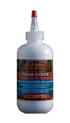 Our Foam Fusion is the ultimate EPS foam glue! It permeates the foam and bonds around its cells. Other glues containing solvents will dissolve foam over time, but our formula is solvent-free. Our glue is not affected by heat or cold as with glue guns. It works with most rigid foams including Styrofoam, and many soft foams. Foam Fusion bonds foam to almost any porous surface and is easy to apply - simply squeeze or brush on. Plus, Hot Wire Foam Factory tools will cut through this glue.