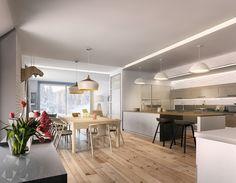 minimalist wooden dining and kitchen