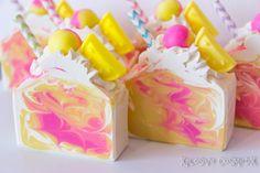 Handmade Coconut Milk Soap scented in Pink Berry Lemonade. Pink Berry Lemonade is a sweet and refreshing blend of Raspberries, Strawberries,